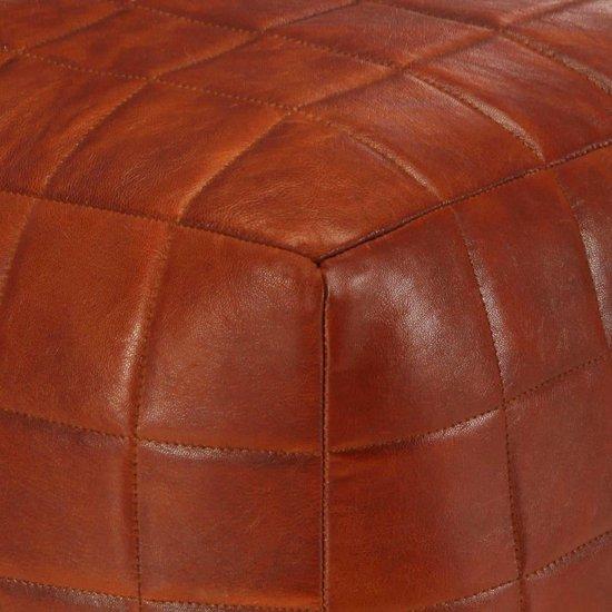 vidaXL Poef 40x40x40 cm echt geitenleer tan