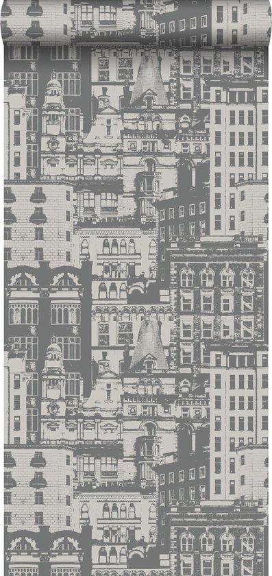 ESTAhome behang gebouwen donkergrijs - 138226 - 53 x 1005 cm