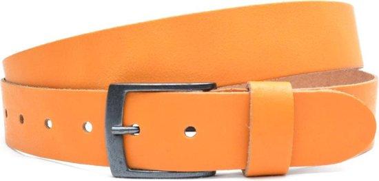 Moderiemen 3,5cm oranje lederen jeans riem – Maat 85 cm