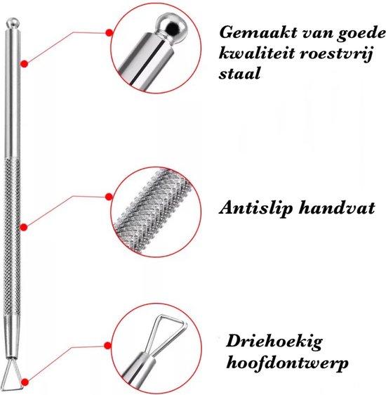 BenjaBeauty® Nagel Bokkepootje en Schraper|Nagelriem Verzorging |Achteruitduwer|RVS Cuticle Pusher|Kunstnagels|2-in-1 RVS nail tool|Pedicure en Manicure|Bokkenpootje|