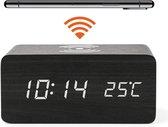JAP AC328 digitale wekker - Houten alarmklok - Met draadloze oplader - Qi charger - Datum en tijd - Zwart
