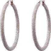 Viva Jewellery strass oorringen groot rosé kleurig