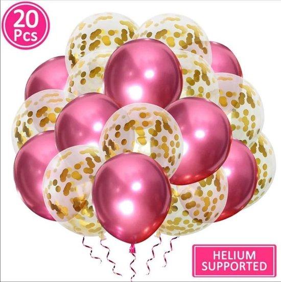 Luxe confetti ballonnen|metallic goud/roze|20 stuks|Helium ballonnenset