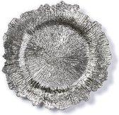 Rond zilveren kaarsenplateau/kaarsenbord asymmetrisch 33 cm - onderbord / kaarsenbord / onderzet bord voor kaarsen