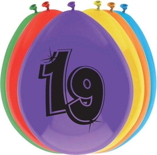 leeftijd ballonnen - 19 - 8 x diverse kleuren