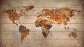 Wereldkaart Hout Roest als Wanddecoratie | 105cm x 60cm | Met 100 gratis koperen pins