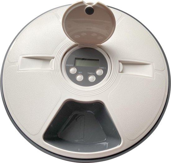 QEY - Slimme automatische voerbak - Hond/kat - 6 maaltijden - Met timer - BPA-vrij - Wit/grijs