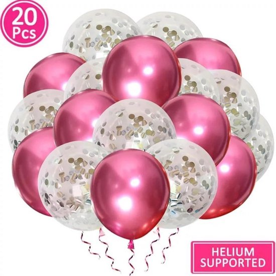 Luxe confetti ballonnen|metallic zilver/roze|20 stuks|Helium ballonnenset