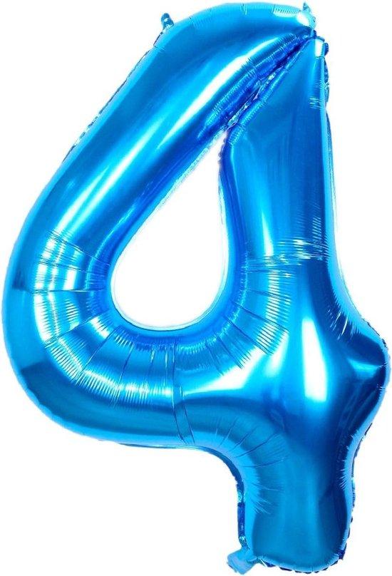 Folie Ballon Cijfer 4 Jaar Blauw 86Cm Verjaardag Folieballon Met Rietje