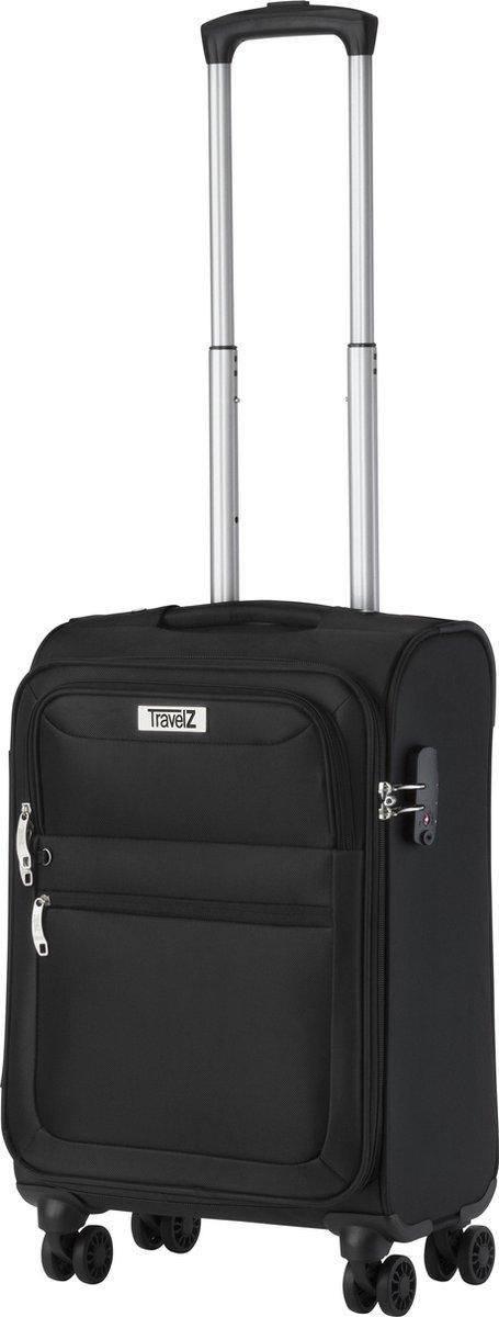 TravelZ Softspinner TSA Handbagagekoffer - Trolley 55cm met dubbele wielen   Zwart