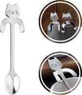Theelepel hangende kat - Koffielepel - Cadeau – Katten – RVS - Zilverkleurig