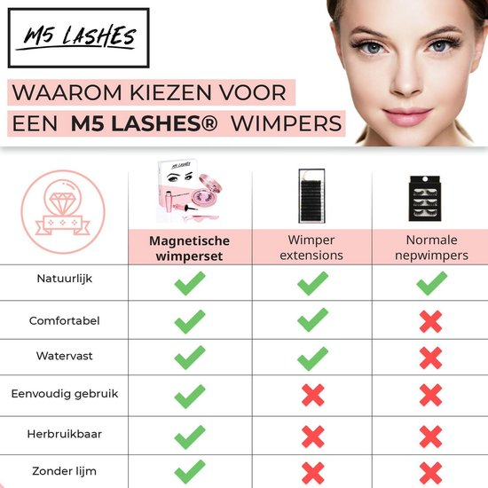 M5 Magnetische Wimpers - Nepwimpers - Model: Diamond