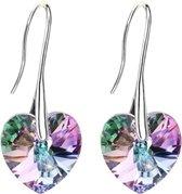 Semyco® Oorbellen dames zilver hangers Swarovski Hartjes - Crystal Blauw Paars - Statement oorbellen 1 paar in luxe geschenkverpakking - Cadeau inspiratie - Moeder cadeau - Romantisch - Vriendinnen - Liefdes - Vrouwen - Dames