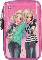 Topmodel 3-vaks etui, gevuld friends roze