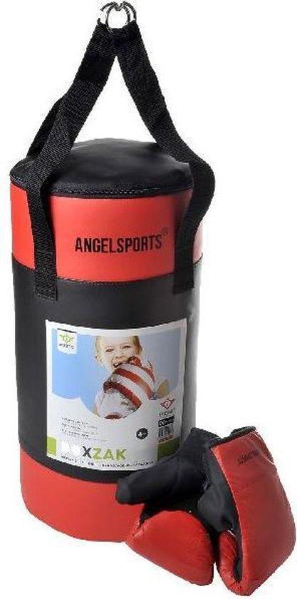 Angel Sports Bokszak met Handschoenen - Zwart/Rood