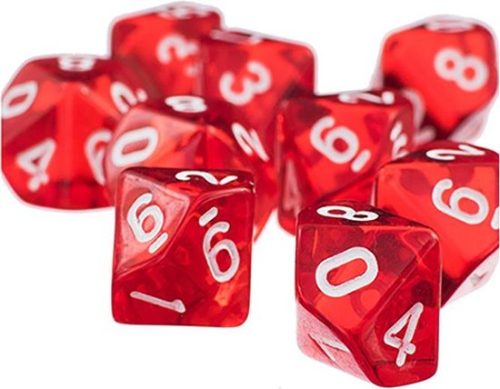 Afbeelding van het spel 10-kantige dobbelstenen (cijfers 0-9) - Rood (5 stuks) / Tienkantige dobbelstenen