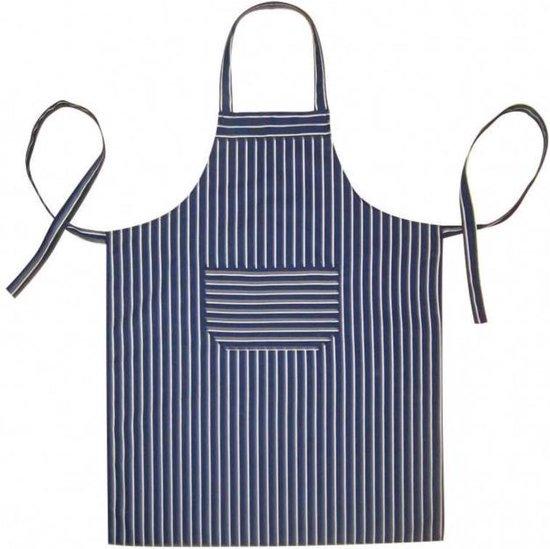 Homéé - Keukenschorten BBQ BIB Apron - Blauw gestreept - 70x100 cm  - Leverbaar in: 70x100