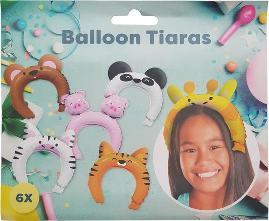 "Ballon tiaras 6 stuks ""Dieren"""