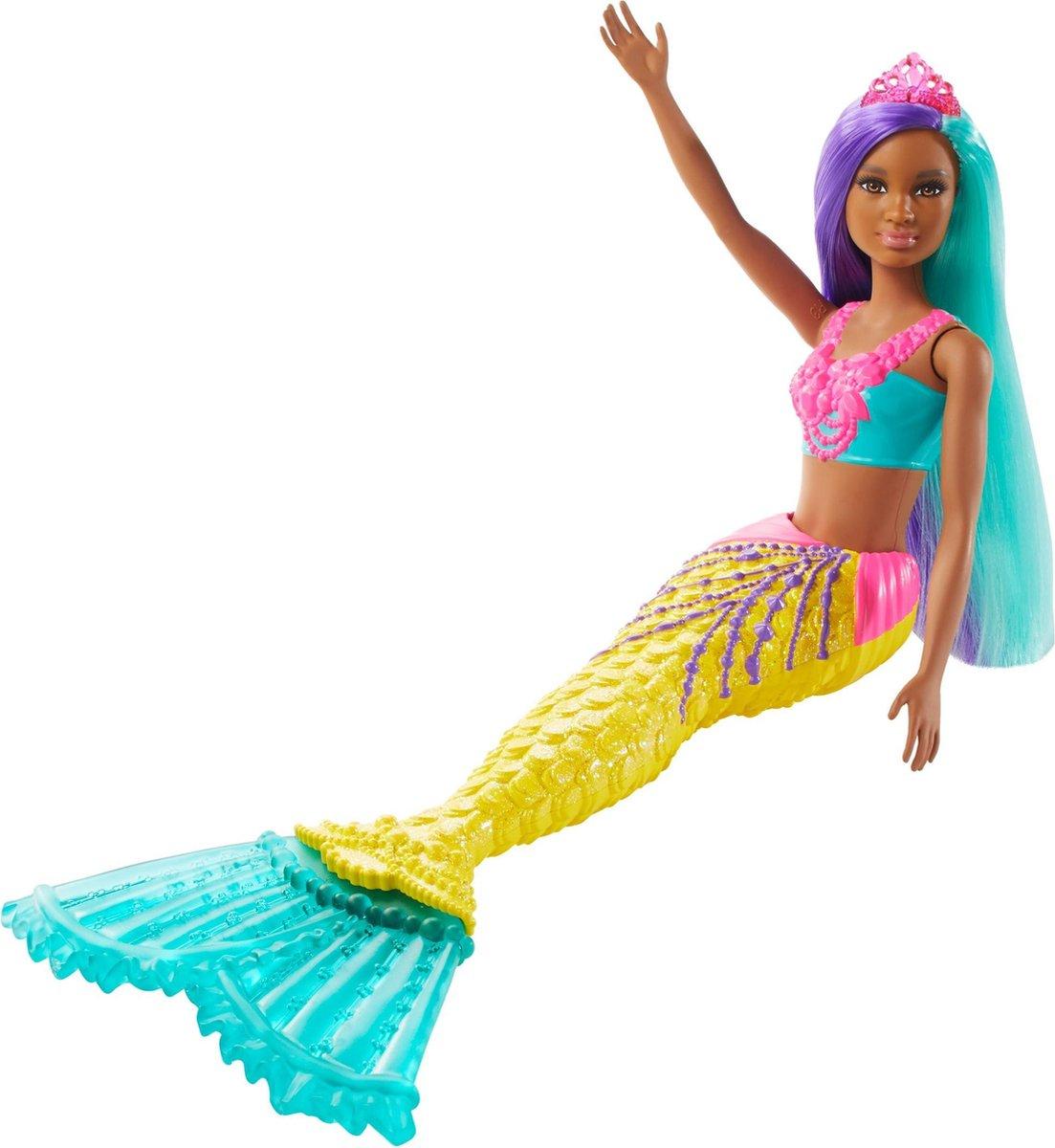 Barbie Dreamtopia Zeemeermin met blauwgroen en paars haar - Barbiepop