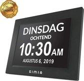 SIMIA™ Premium Digitale Dementieklok - Dementie Kalenderklok met Alarmfunctie - Alzheimerklok - Medicijnwekker - Zwart