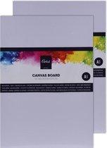 2x Schilderkarton met canvas 40 x 30 cm - Canvasdoeken - Schildersdoek - Schilderen/verven - Hobby/knutselmateriaal
