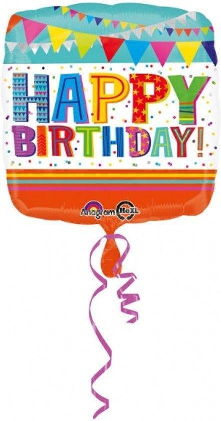 Helium Ballon Happy Birthday Vlaggen 43cm leeg