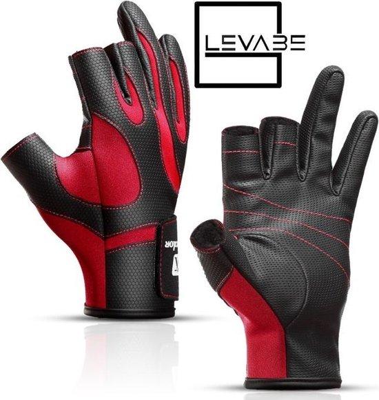 Levabe Professionele Vingerloze Antislip Vis Handschoen   Rood / Zwart   Outdoor   Vis Sport   Hengel   maat XL