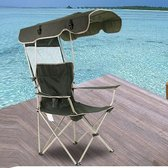Outdoor Sun Protection Folding Chair Multifunctional Portable Fishing Beach Lounge Chair  With Sunshade Aluminum Folding Chair(Dark Green)