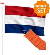 Vlaggenset geschikt voor voor gevelstok: Premium kwaliteit Nederlandse vlag 100x150 cm Marineblauw + Oranje wimpel 175 cm