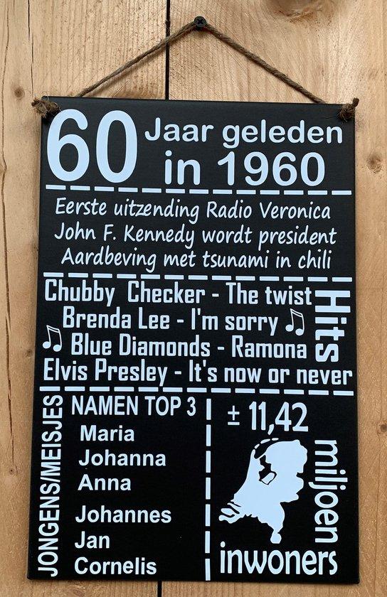 Zinken tekstbord 60 jaar geleden in 1960 - antraciet
