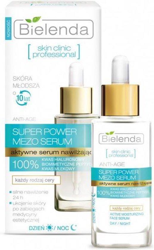 Bielenda Hydraterende MeSo Serum -  Actieve Hyaluron - BioMimetic Peptides en Lactic Acid - Dag & Nacht Gezichtsverzorging  - 30 ml