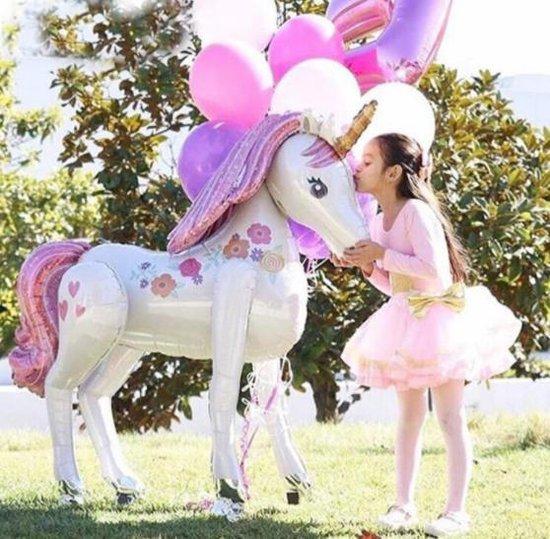 Ballon Eenhoorn.  Grote opblaasbare Eenhoorn voor meisjes feest. Folie ballon.