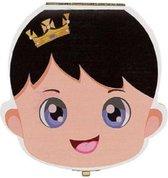 Tandendoosje van Hout - Melktanden - Tandenfee - Opbergdoosje - Jongen - Zwart Haar