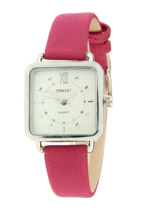 Ernest horloge vierkant roze