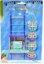 Happy Pet Bird Toy Mp Bal/Ladder/Perch - Vogelspeelgoed - 22 x 10 x 4 cm