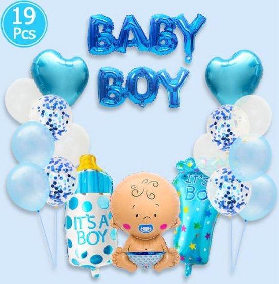 """WiseGoods - Premium Luxe Babyshower Helium Ballonnen """"Jongen"""" - Babyshower Versiering - Geboorte Versiering - """"Baby Boy"""" Helium Ballonnen Set -19 st - Blauw"""