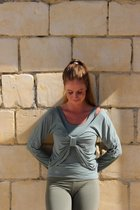 Long Sleeve dames-yoga shirt- top-Leger groen