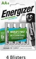16 stuks (4 blisters a 4 stuks) Energizer Rechargeable AA 2300 mah Extreme Oplaadbaar