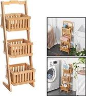 Houten opbergrek met 3 manden - Staand badkamerrek / keukenrek met bakken van bamboe hout - Smal rek voor keuken / badkamer van Decopatent®