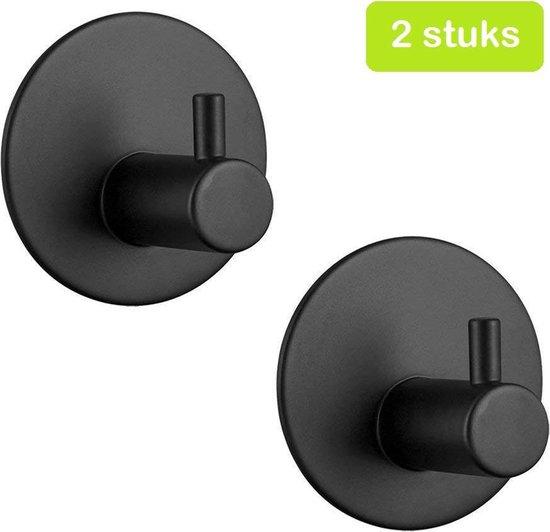 Handdoekhaakjes zelfklevend - RVS Mat Zwart - Haakjes badkamer & keuken - Design wandhaakjes Plakkend - 2 stuks