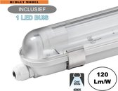 Complete LED TL Armatuur 120cm 18W, 2160LM (High Lumen), 4000K Neutraal Wit, IP65, Incl. 1x led buis