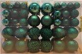 100x Emerald groene kunststof kerstballen 3, 4 en 6 cm - Glans/mat/glitter - Petrol groen - Kerstboom versiering/decoratie
