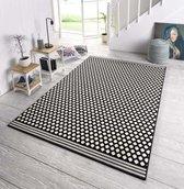 Design vloerkleed gestippeld Capri - zwart/crème 70x140 cm