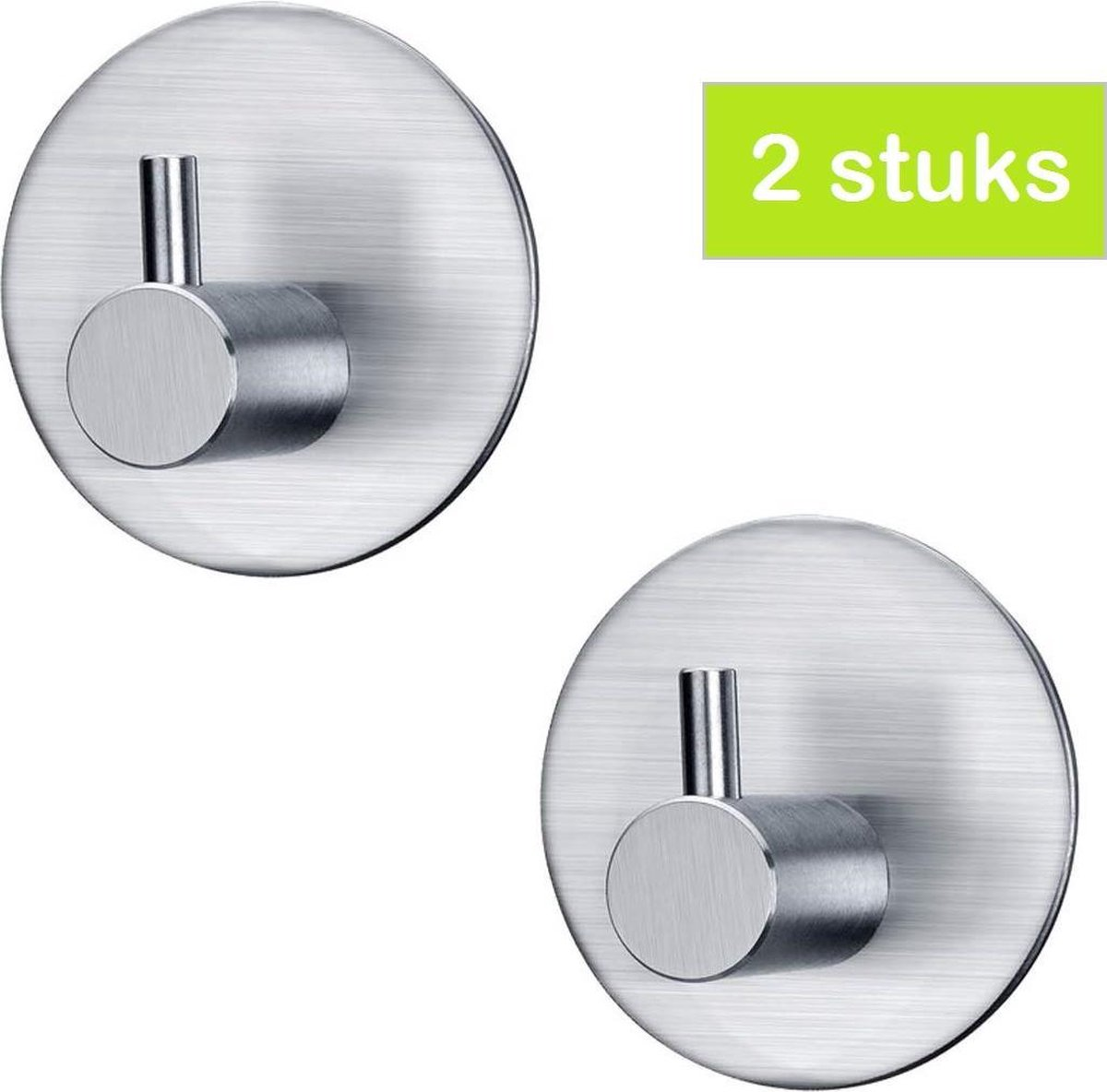 Handdoekhaakjes Zelfklevend - Zilver - Haakjes Handdoekhouder Badkamer Keuken Toilet| 2 stuks