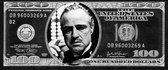 Dibond The Godfather in Dollarbiljet 120 x 50 cm Aluminium Geborsteld incl. luxe ophangframe