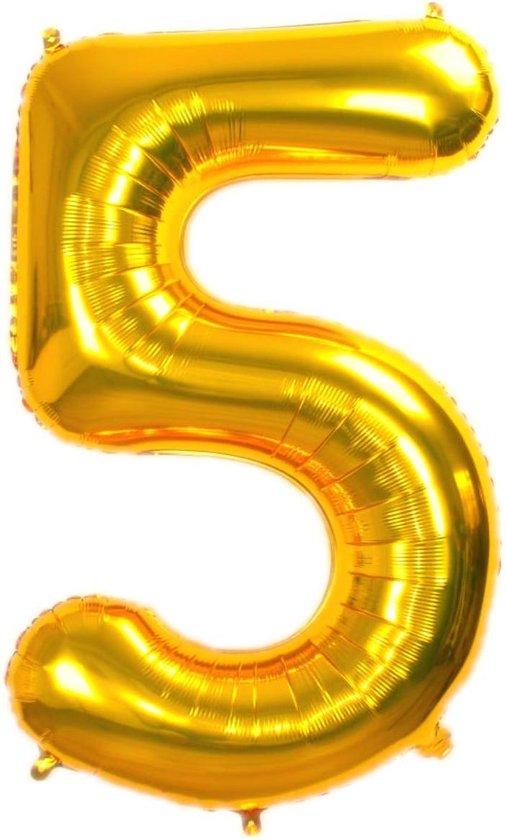 Folie Ballon Cijfer 5 Jaar Goud 86Cm Verjaardag Folieballon Met Rietje