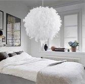 Jawes- Hanglamp- Veren- Wit- 30cm- Plafondlamp- Woonkamer- Veren decoratie- Struisvogelveren- Plafondlampen