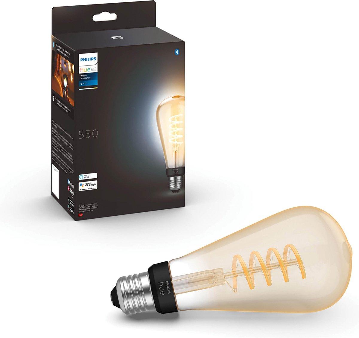 Philips Hue Filament Lichtbron E27 Edisonlamp ST72 - warm tot koelwit licht - groot - 1-pack - Bluetooth