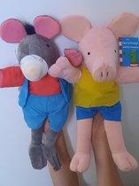 Handpoppen set 40 cm Varken en Rat - handpop knuffel van kikker - dieren - poppenkast - rat / muis - Blauw | Rood
