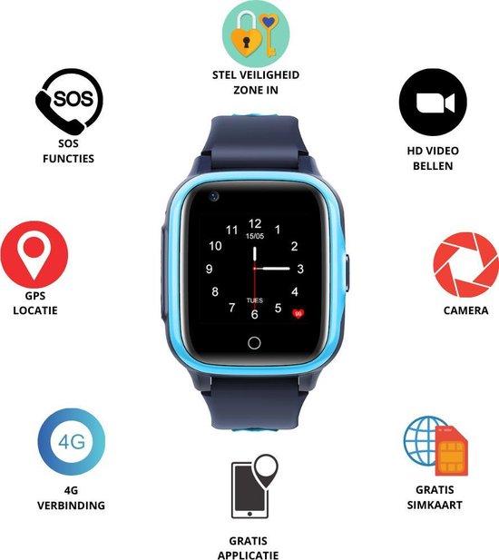 GPS Horloge 4 YOU - GPS Horloge kind - GPS Tracker - Smartwatch voor kinderen - Kinderhorloge - Gratis simkaart en Gratis app - SOS Knop - 4G verbinding- Waterdicht - Live GPS Locatie - HD (Video)bellen - Veiligheidzone instellen - Camera - Blauw 15